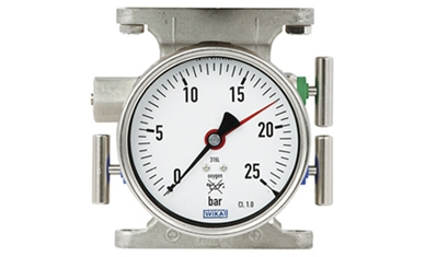The working pressure indication for tank safety is combined with a valve manifold.