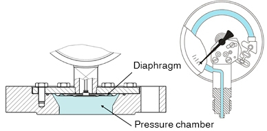 Diaphragm pressure gauge with open connecting flange (l.): In the large pressure chamber, no media can settle. Due to the narrowness of the Bourdon tube (r.), there is a risk of this.